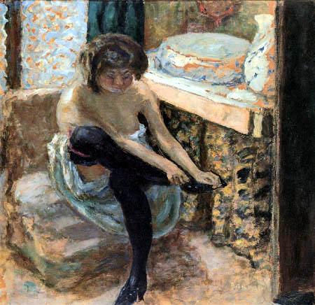 Pierre Bonnard - Mujer con medias negras