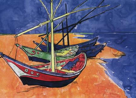Vincent van Gogh - Barcos pesquero en la playa, Saintes-Maries