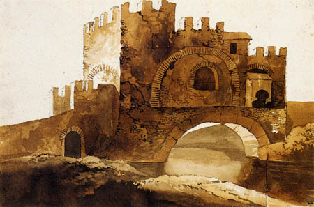 Jacob Philipp Hackert - Bridge and  gate