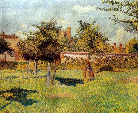 Camille Pissarro - Mujer en la huerto frutal