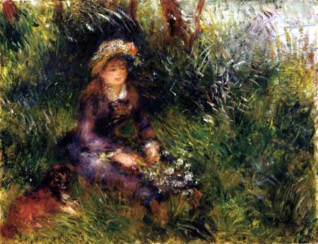 Pierre Auguste Renoir - Madame Renoir con el perro
