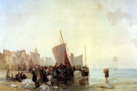 Richard Parkes Bonington  - Marché de poissons près de Boulogne
