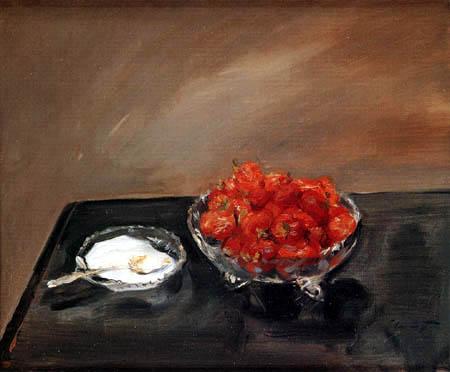 Max Slevogt  - Stillleben mit Erdbeeren