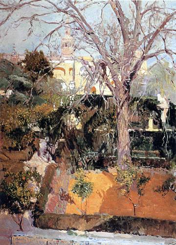 Joaquín Sorolla y Bastida  - Jardines del Alcázar de Sevilla en invierno