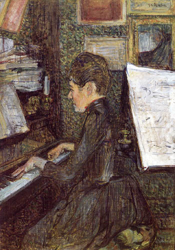 Henri de Toulouse-Lautrec - Mademoiselle Dihau at the piano
