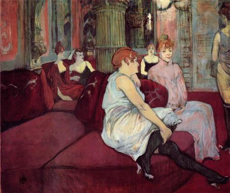 Henri de Toulouse-Lautrec - The salon in the Rue des Moulins