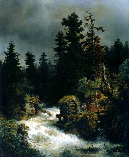 Andreas Achenbach - Waterfall in the forest