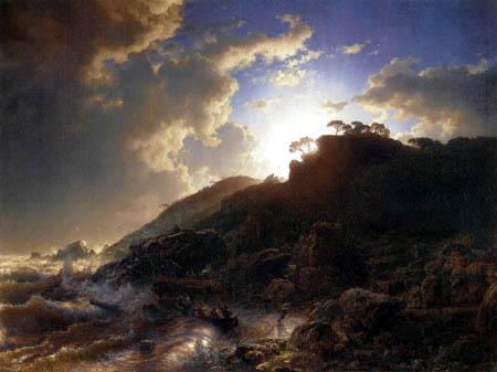 Andreas Achenbach - Sonnenuntergang an der sizilianischer Küste