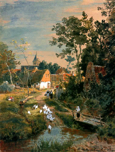 Andreas Achenbach - Village at the river bank