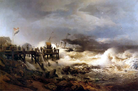 Andreas Achenbach - Start of a steamer