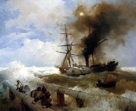 Andreas Achenbach - Naval storm
