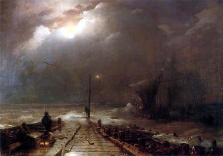 Andreas Achenbach - Holländische Hafeneinfahrt bei Vollmond