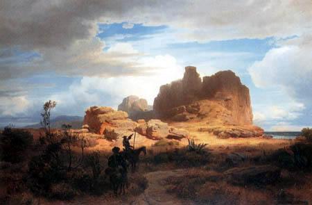 Oswald Achenbach - Südliche Landschaft mit Don Quichotte