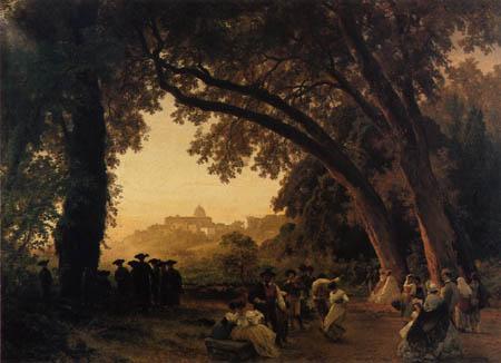 Oswald Achenbach - Saltarellotanz mit Blick auf Castel Gandolfi