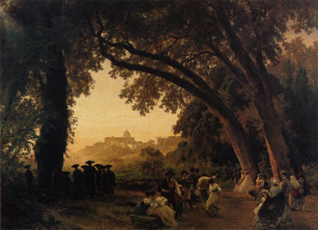 Oswald Achenbach - Dance overlooking of Castel Gandolfi