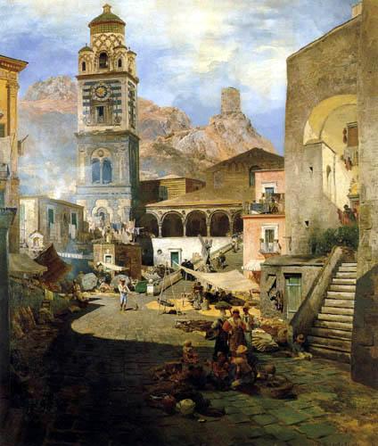 Oswald Achenbach - Marktplatz von Amalfi