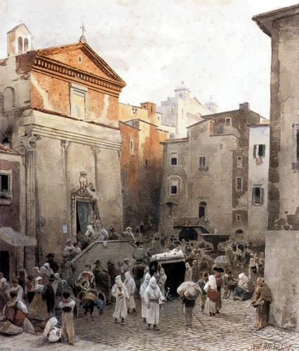 Oswald Achenbach - Begräbnis in Palestrina