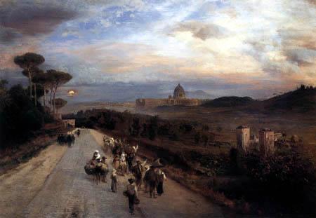 Oswald Achenbach - Via Cassia bei Rom mit Blick auf den Vatikan