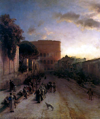 Oswald Achenbach - Strassenszene in Laterano