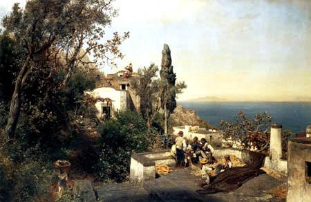 Oswald Achenbach - Italian coasts landscape near Naples
