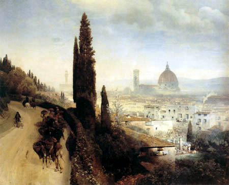 Oswald Achenbach - View of Florence with look at the cathedral