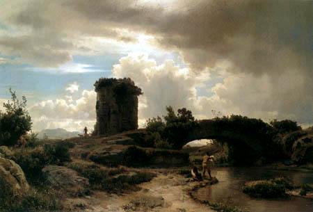 Oswald Achenbach - Italienische Flusslandschaft mit antiken Rundgrab