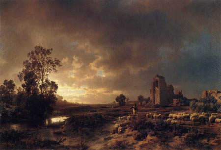 Oswald Achenbach - Evening in the Campagna