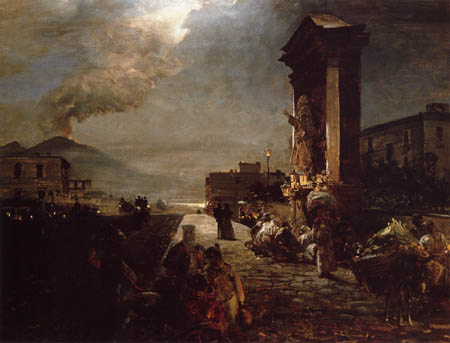 Oswald Achenbach - Street in Naples with views of Mount Vesuvius
