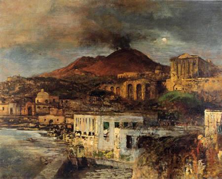 Oswald Achenbach - Coastal landscape with Vesuvius