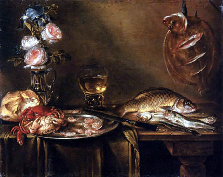 Alexander Adriaenssen - Still Life with Roses, Crabs and Fish