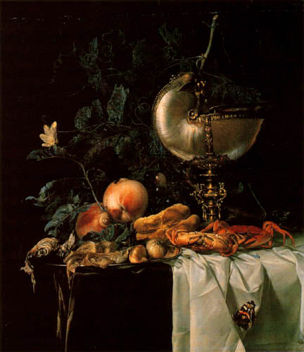 Willem van Aelst - Still Life with a Cup and Crabs