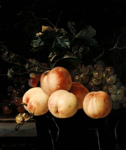 Willem van Aelst - Pfirsiche und Trauben
