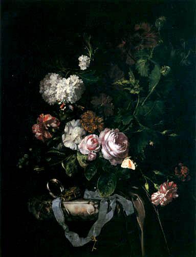 Willem van Aelst - Flowers and clock