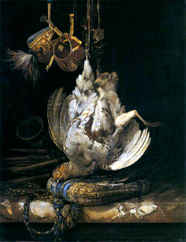 Willem van Aelst - Jagdbeute mit Falkenhauben