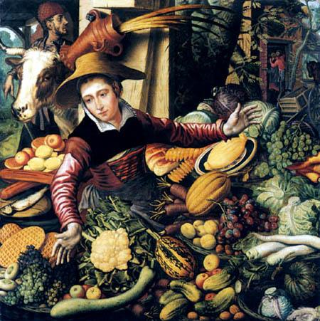 Pieter Aertsen (Aartsen, Aersten) - Marktfrau am Gemüsestand