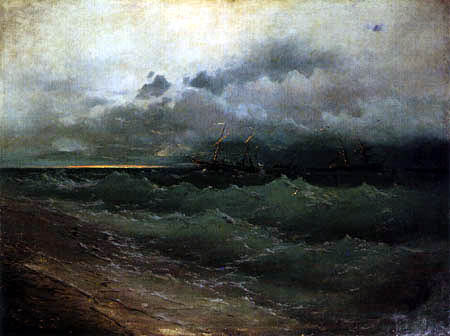 Ivan Konstantinovitch Aïvazovski - Navires dans la mer orageuse
