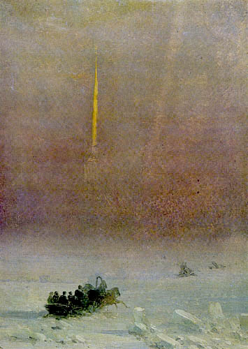 Iwan Konstantinowitsch Aiwasowski - Petersburg, Schlittenweg über die Newa