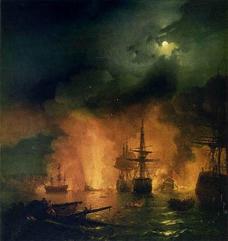 Iwan Konstantinowitsch Aiwasowski - Seeschlacht bei Tschesme, 1770