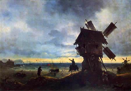 Ivan Konstantinovich Aivazovsky - Windmill on the sea shore
