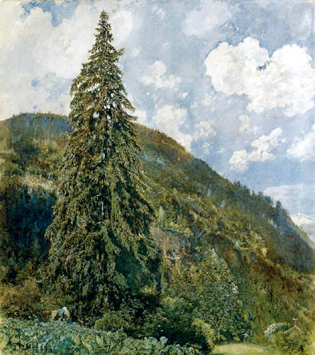 Rudolf von Alt - The large spruce, Badgastein