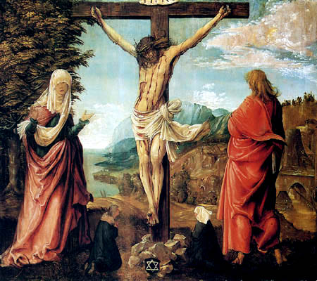 Albrecht Altdorfer - Crucified Christ with Maria and John