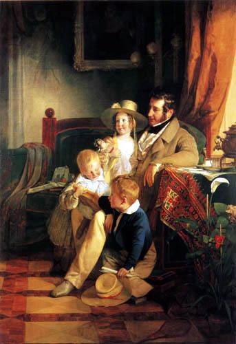 Friedrich von Amerling - Rudolf von Arthaber mit seinen Kindern