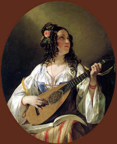Friedrich von Amerling - Die Lautenspielerin
