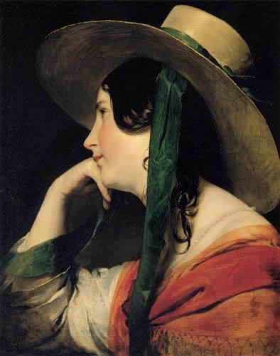Friedrich von Amerling - Girl with yellow straw hat