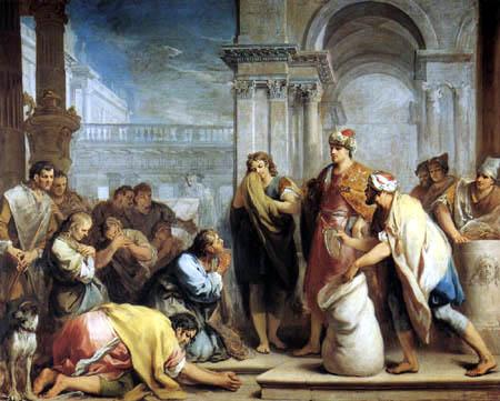 Jacopo (Giacomo) Amigoni - Das Auffinden des Kelchs von Joseph im Sack von Benjamin