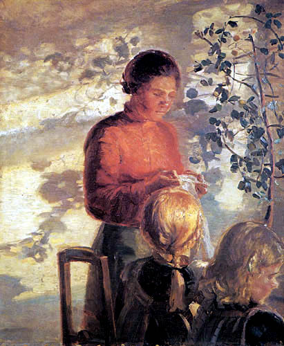 Anna Ancher - Two girls learn to sew