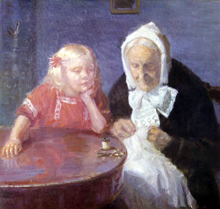 Anna Ancher - Grandmother and granddaughter