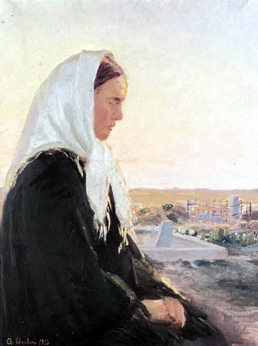 Anna Ancher - Young woman in the cemetery of Skagen
