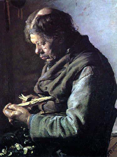 Anna Ancher - Lars Gaihede schnitzt einen Stock