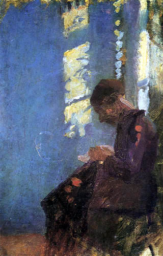 Anna Ancher - Woman, Sewing